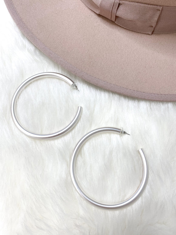 Large Silver Matte Hoops