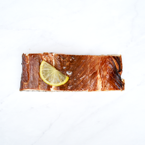 Honey and lime hot smoked salmon fillet with lime slice