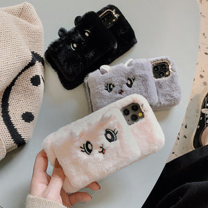 Cat Plush Warm Phone Case for iPhone
