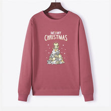 Load image into Gallery viewer, Christmas Lovely Cat Print Women Hoodie Long Sleeve Pullover