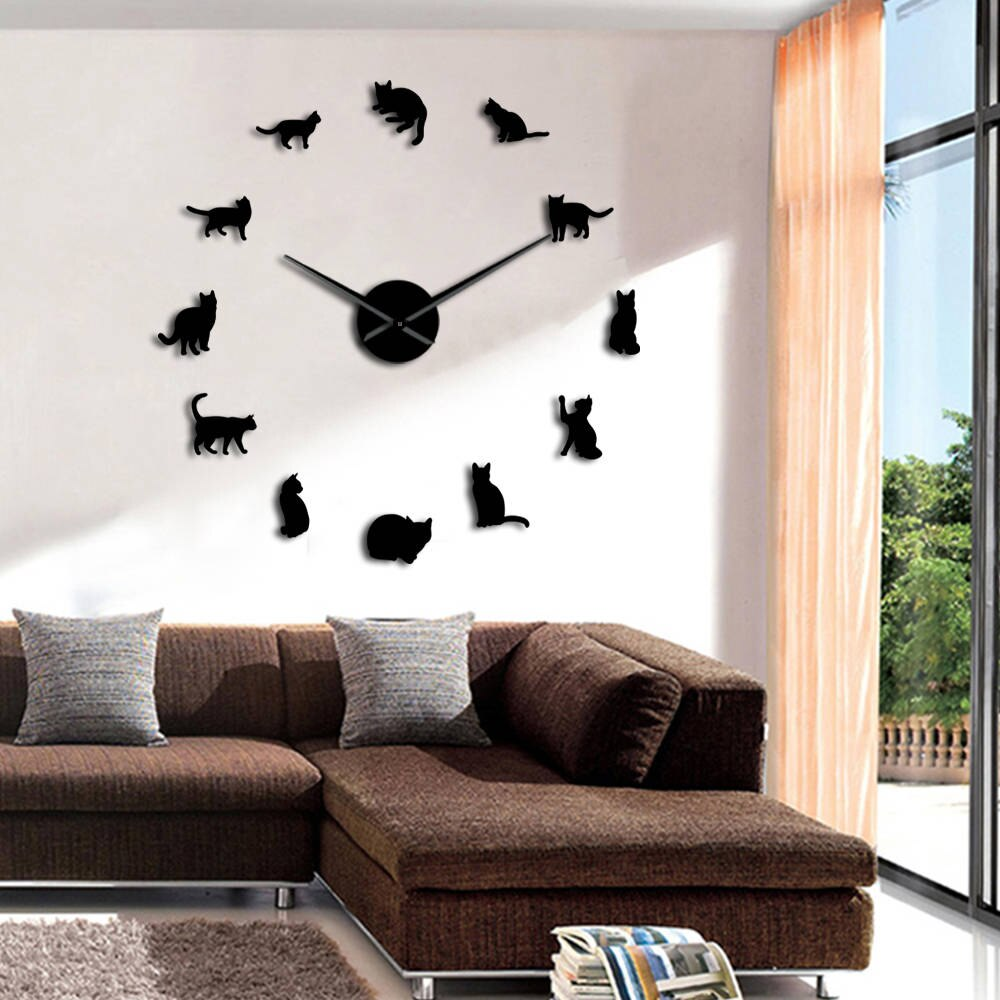 Frameless Cats Silhouette Wall Art Clock Watch Kittens 3D