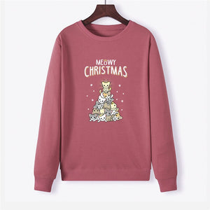 Christmas Lovely Cat Print Women Hoodie Long Sleeve Pullover