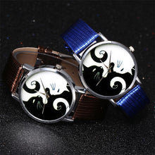 Load image into Gallery viewer, YING YANG CATS LEATHER BAND QUARTZ