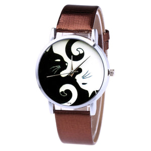 YING YANG CATS LEATHER BAND QUARTZ