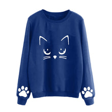 Load image into Gallery viewer, T-shirt women long sleeve cat