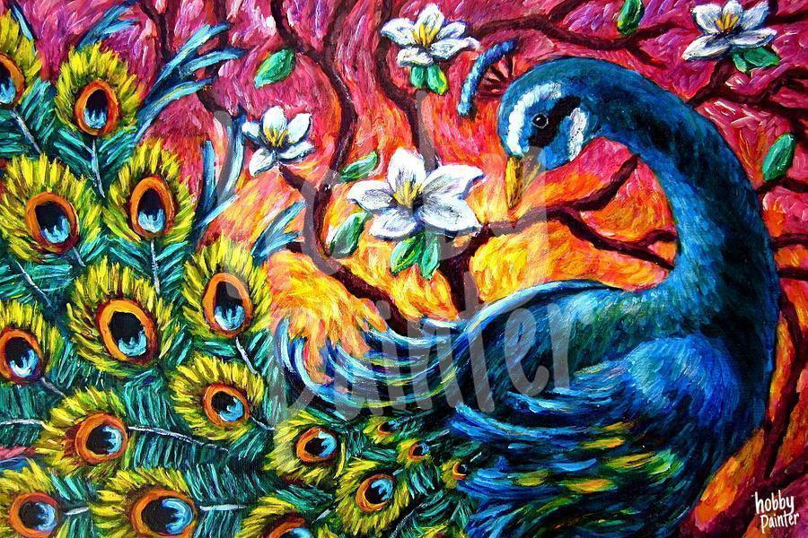 Colorful peacock diamond painting