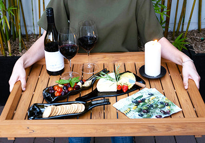 wine bottle platter: wine and cheese with a twist
