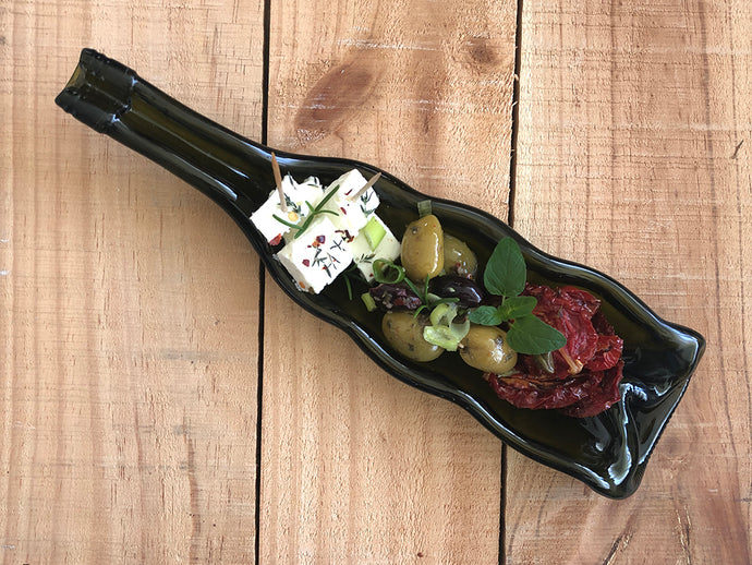 Three sectioned red wine bottle dish