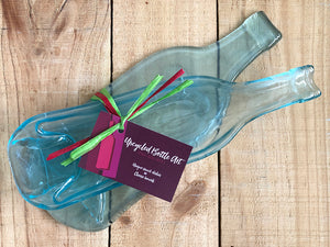 Gift set: Flat and deep wine bottle dish (clear/blue tint) - gift wrapping incl.