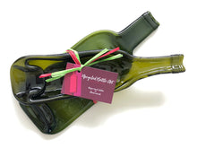 Load image into Gallery viewer, Gift set: Two versatile upcycled wine bottle platters, gift wrapped and ready to be sent to the gift recipient