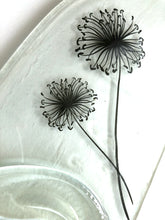 Load image into Gallery viewer, Clear wine bottle platter & cheese board with black dandelion seed head decal (flat)