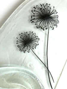 Clear wine bottle platter & cheese board with black dandelion seed head decal (flat)