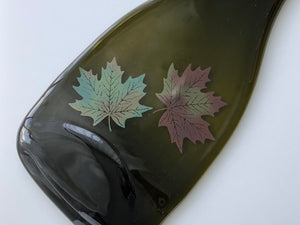 Wine bottle platter & cheese board with grape wine decals (brown/green, flat)
