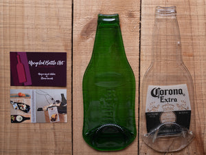Flattened beer bottles to use as serving dish