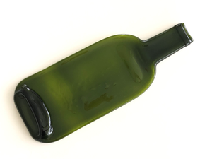Wine bottle platter & cheese board (brown/green, flat)