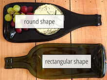 Load image into Gallery viewer, Wine bottle platter & cheese board (brown/green, flat)