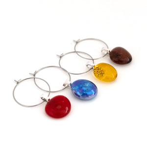small colourful glass wine charms