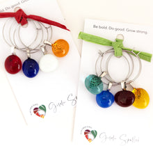 Load image into Gallery viewer, set of four wine charms of different colours