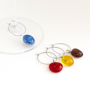 small glass wine charms, set of four, in different colours