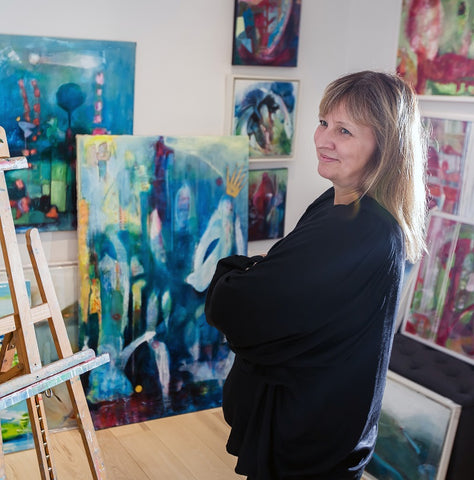 Artist Eva Wiren in the Studio