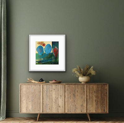 Colorful art for green walls
