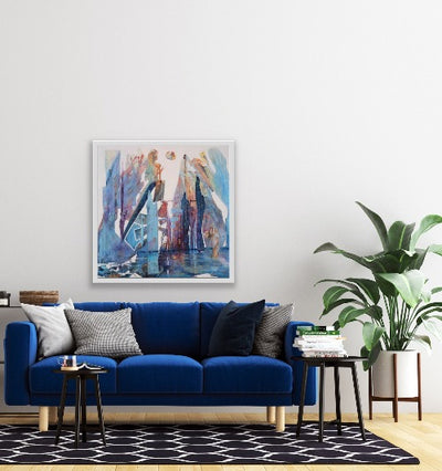 blue sofa and art
