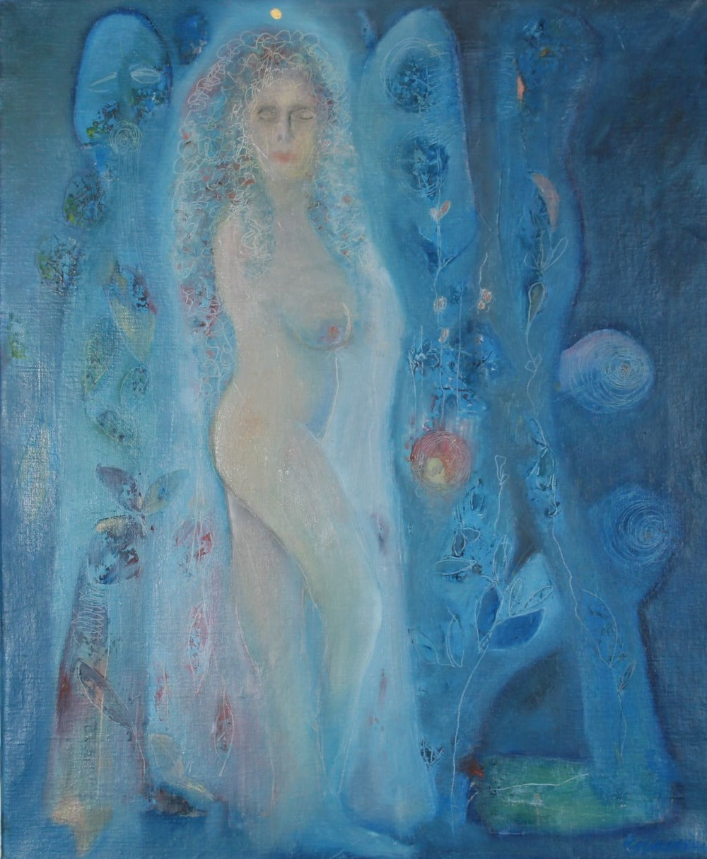 Blue art woman peace