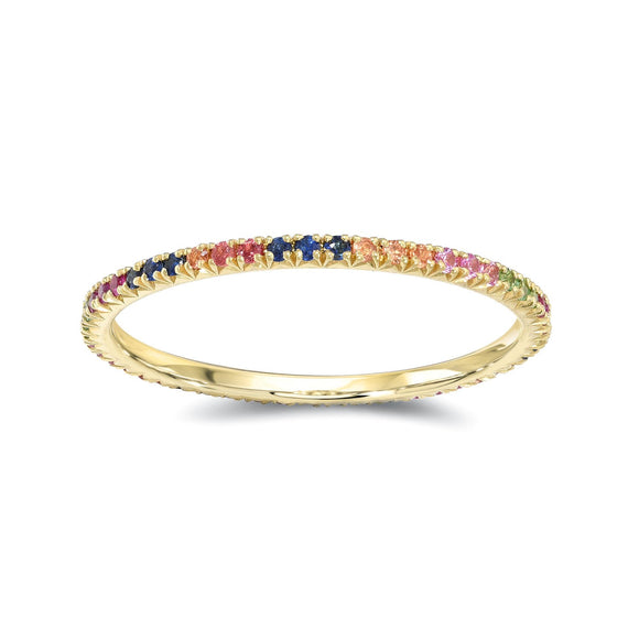 Rainbow Sapphires Eternity Band - Marc & Mizrahi 14k Stackable Rings and Jewelry in Beverly Hills
