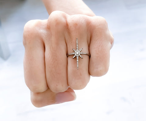 North Star Ring Black - Marc & Mizrahi 14k Stackable Rings and Jewelry in Beverly Hills