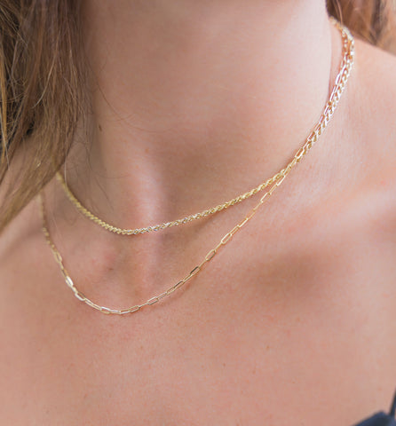 Gold Paper clip Necklace Chain 14k