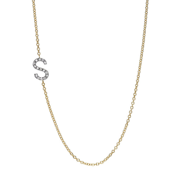 Initial Diamond Necklace - Marc & Mizrahi 14k Stackable Rings and Jewelry in Beverly Hills