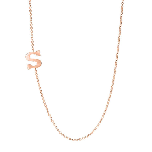 Solid Gold Initial Necklace - Marc & Mizrahi 14k Stackable Rings and Jewelry in Beverly Hills