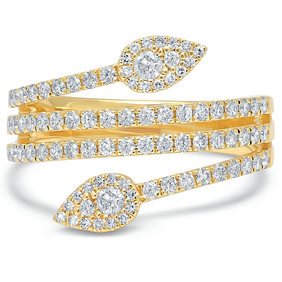 Double Leaf Diamond Ring - Marc & Mizrahi 14k Stackable Rings and Jewelry in Beverly Hills