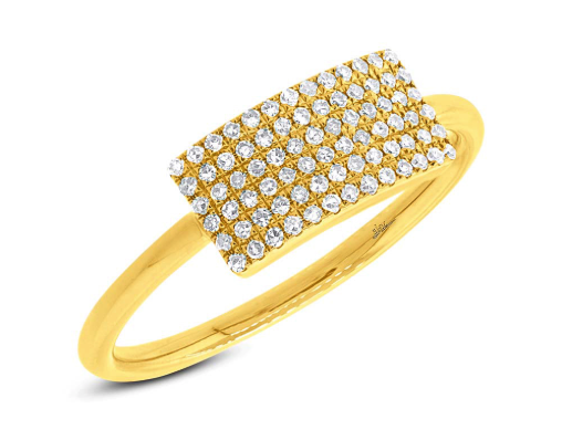 Pave Plate Ring - Marc & Mizrahi 14k Stackable Rings and Jewelry in Beverly Hills