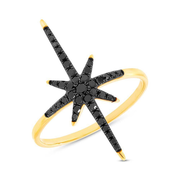 North Star Ring with black Diamonds - Marc & Mizrahi 14k Stackable Rings and Jewelry in Beverly Hills