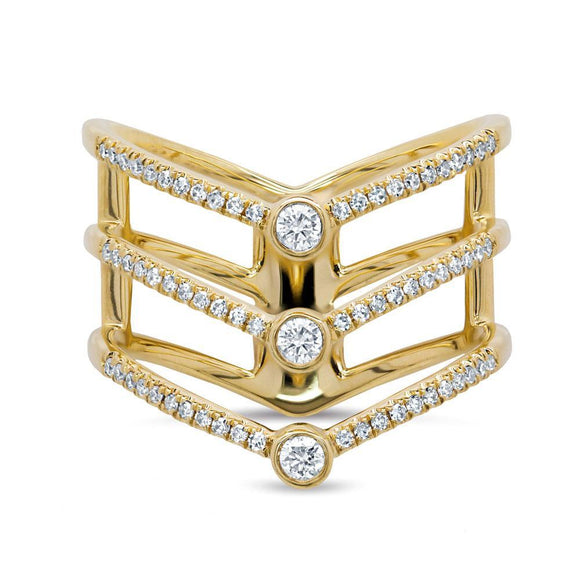 Triple Diamond Lady's Ring - Marc & Mizrahi 14k Stackable Rings and Jewelry in Beverly Hills