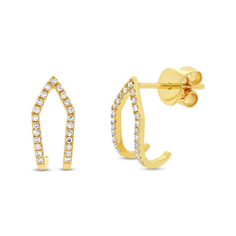 Double Huggie Earrings - Marc & Mizrahi 14k Stackable Rings and Jewelry in Beverly Hills