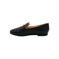 Leather Loafer Flats in black color