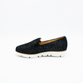 black denim comfortable slip on with its built-in arch support
