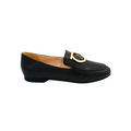 black leather loafer flats