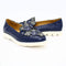 navy flower leather shoes