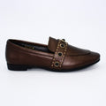bronze leather loafers for women