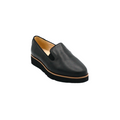 Women's Leather Slip-On Shoes in black color