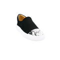 women's slip on sneaker with black and white snake pattern