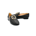 comfortable leather loafer shoes for women in black color
