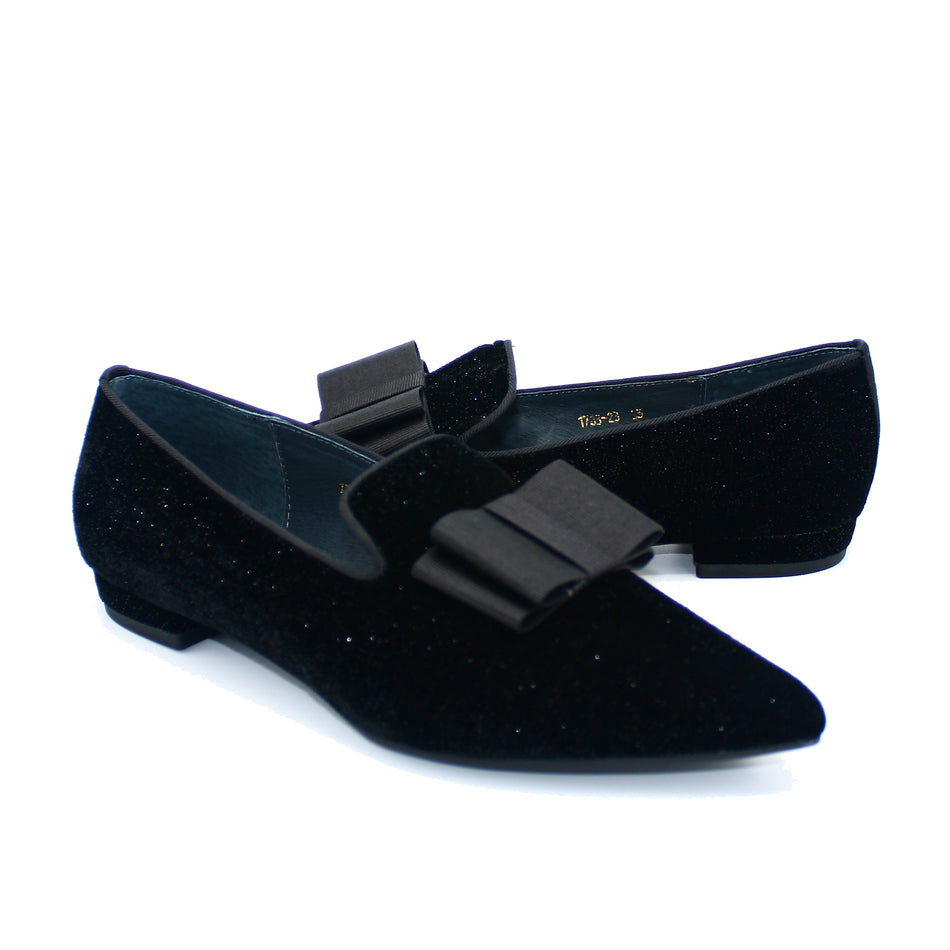 Amelia Pointed Loafer With Bow In Black Sparkle Velvet