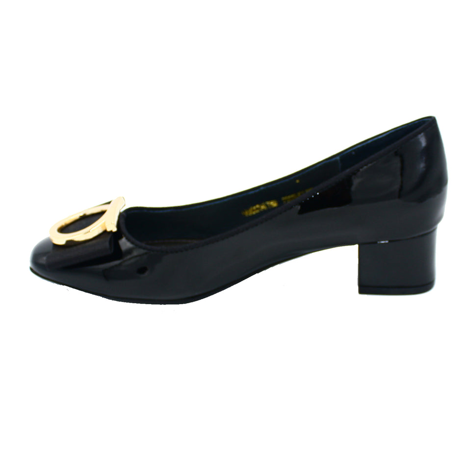 Penelope Black Patent Pump With Gold Embellishment
