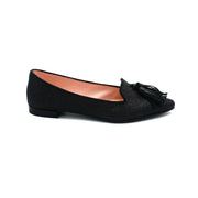 Gray point toe flats for women