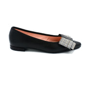 Black patent point toe flats with bow