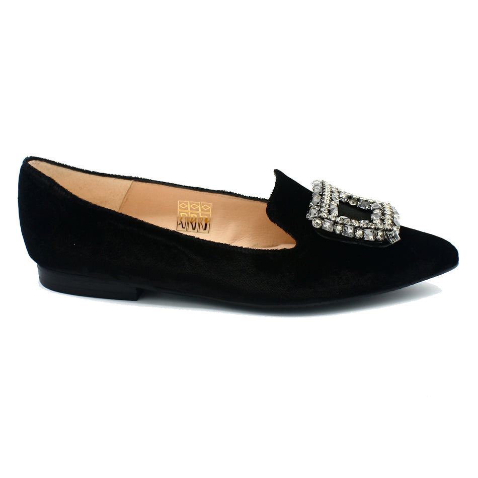 Black velvet pointed toe flats for women's